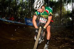 UCI MTB World Cup Rider inflating tyre Stock Photo
