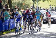 UCI Road Race World Championship for Elite Men on. COPENHAGEN, DENMARK - SEPTEMBER 25: A breakaway group of bikers take part in the UCI Road Race World Royalty Free Stock Image
