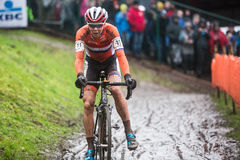 UCI World Championship Cyclocross - Heusden-Zolder, Belgium. Thalita de Jong (NED) come unclipped from her pedals during competition at the UCI World Royalty Free Stock Photo