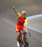 UCI World Cup Classics cycling. BEIJING – JANUARY 22: A member of the China's team celebrates after winning Gold medal in Men's Team Sprint final royalty free stock photo