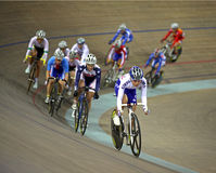 UCI World Cup Classics cycling. BEIJING – JANUARY 22: Cyclists race during Women's Scratch final in the UCI World Cup Classics cycling event at the stock photos