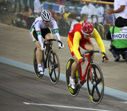 UCI World Cup Classics cycling event. BEIJING – JANUARY 22: Shuangon Guo (CHN) beats Anna Meares (AUS) in the Women's Sprint final in the UCI World Cup royalty free stock photos