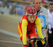 UCI World Cup Classics cycling event. BEIJING - JANUARY 22: Shuangon Guo (CHN) is ready to race against Anna Meares (AUS) in the Women's Sprint final in the UCI royalty free stock image