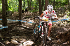 UCI World Cup Cross Country 2013, Mont Ste-Anne, B. MONT STE-ANNE, QUEBEC, CANADA - AUGUST 10: Cross Country Women Elite, 2nd place, POL - WLOSZCZOWSKA Maja, UCI stock photography