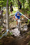 UCI World Cup Cross Country 2013, Mont Ste-Anne, B. MONT STE-ANNE, QUEBEC, CANADA - AUGUST 10: Cross Country Women Elite, 1st place, CZE - NASH Katerina, UCI Royalty Free Stock Photography