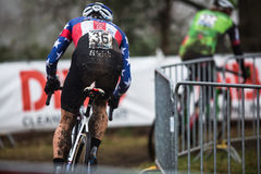 UCI World Cup Cyclocross - Hoogerheide, Netherlands. Jeremy Powers (Easthampton,Mass./Aspire Racing) chases Stephen Hyde (Easthampton,Mass./Cannondale Royalty Free Stock Photo