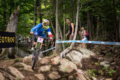 UCI World Cup Downhill 2013, Mont Ste-Anne, Beaupr. MONT STE-ANNE, QUEBEC, CANADA - AUGUST 11: Downhill Women Elite, 3rd place, FRA - PUGIN Floriane, UCI World stock photography