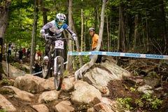 UCI World Cup Downhill 2013, Mont Ste-Anne, Beaupr. MONT STE-ANNE, QUEBEC, CANADA - AUGUST 11: Downhill Women Elite, 1st place, FRA - RAGOT Emmeline, UCI World Stock Photos