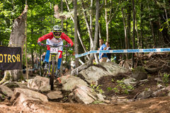 UCI World Cup Downhill 2013, Mont Ste-Anne, Beaupr. MONT STE-ANNE, QUEBEC, CANADA - AUGUST 11: Downhill Women Elite, 8th place, CAN - GATTO Micayla, UCI World Royalty Free Stock Photography