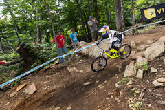 UCI World Cup Downhill 2013, Mont Ste-Anne, Beaupr. MONT STE-ANNE, QUEBEC, CANADA - AUGUST 11: Downhill Women Elite, 5th place, FRA - NICOLE Myriam, UCI World Stock Photos
