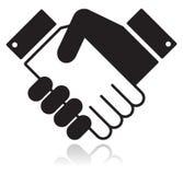 uścisk dłoni czarny glansowana ikona Fotografia Stock