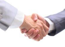 Uścisk dłoni odizolowywający na biel Fotografia Stock