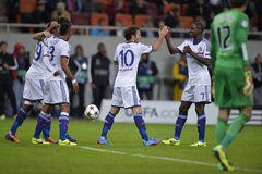 UCL: Chelsea's players celebrating a goal Royalty Free Stock Images