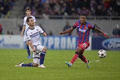 UCL: Frank Lampard and Leandro Tatu. Frank Lampard (right) and Leandro Tatu (left) pictured in action during the Uefa Champions League match between Steaua Royalty Free Stock Images