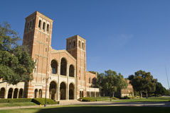 UCLA Campus. Lawn in Los Angeles California, Royce Hall Stock Photos
