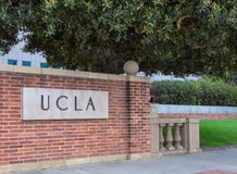 UCLA Campus Entrance Sign. LOS ANGELES, CA/USA - MAY 25, 2015: Entrance sign to UCLA campus. UCLA is a public research university located in the Westwood Stock Image