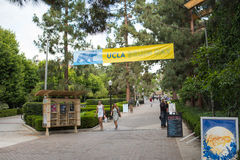 UCLA campus. Los Angeles, CA: May 7, 2017: Bruin Walk on the UCLA campus. UCLA is a public university in the Los Angeles area Stock Photos