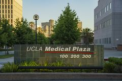 The UCLA Medical Plaza symbol. Westwood, JUN 21: The UCLA Medical Plaza symbol on JUN 21, 2017 at Westwood, Los Angeles County, California, United States Royalty Free Stock Photos