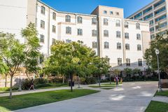UCLA Residence Halls. Los Angeles, CA: October 20, 2017: Exterior of the UCLA resident halls. For 2017-2018, the cost of room and board in the UCLA resident Royalty Free Stock Photos
