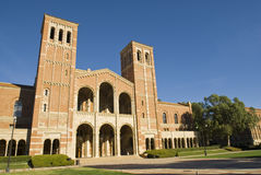 UCLA Royce Hall. Royce Hall at UCLA.  University Brick Architecture Building with Bell Towers and campus lawn Stock Images