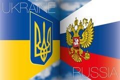 Ucrânia contra bandeiras de Rússia Fotos de Stock Royalty Free