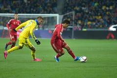 Ucrânia contra a Espanha Desempate 2016 do EURO do UEFA Foto de Stock Royalty Free