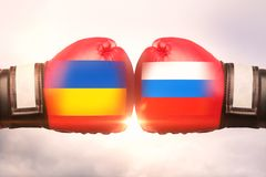 Ucrânia contra o conceito de Rússia ilustração stock