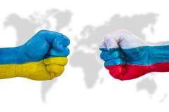 Ucrânia contra Rússia fotos de stock royalty free