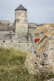Ucrânia, Kamyanets-Podilskyy, pedra com corações Foto de Stock Royalty Free