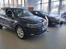 Ucrânia Kiev carros novos do 25 de fevereiro de 2018 denomina o conceito na exposição automóvel de Volkswagen da apresentação Fotografia de Stock Royalty Free