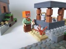 Ucrânia Kiev mini figura quadrado popular do 21 de fevereiro de 2018 de Lego Minecraft da infância do jogo plástico do homem da e Fotos de Stock