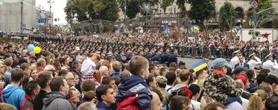 Ucrânia, Kiev, o 24 de agosto de 2016 Parada militar dedicada ao Dia da Independência de Ucrânia Foto de Stock