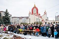 ucrânia LVIV - 14 DE JANEIRO DE 2016: Cena da natividade do Natal Fotos de Stock Royalty Free