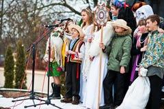 ucrânia LVIV - 14 DE JANEIRO DE 2016: Cena da natividade do Natal Foto de Stock