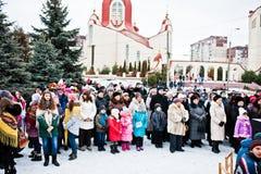 ucrânia LVIV - 14 DE JANEIRO DE 2016: Cena da natividade do Natal Fotografia de Stock Royalty Free