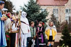 ucrânia LVIV - 14 DE JANEIRO DE 2016: Cena da natividade do Natal Imagem de Stock Royalty Free