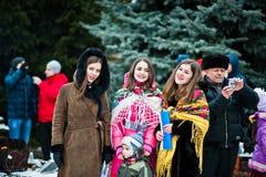 ucrânia LVIV - 14 DE JANEIRO DE 2016: Cena da natividade do Natal Fotos de Stock