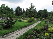 Ucrânia, Zaporizhia - 24 de junho de 2017: Excursão no jardim botânico do ` s das crianças da cidade de Zaporizhzhya fotografia de stock royalty free
