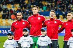 Ucrania contra País de Gales Fotos de archivo libres de regalías