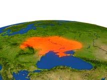 Ucrania en rojo de la órbita ilustración del vector
