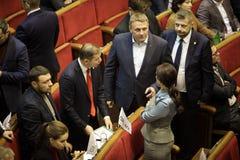 11 26 Ucrania 2018 kiev Verkhovna Rada de Ucrania Votación por la ley sobre ley marcial en Ucrania Diputados del ucraniano foto de archivo