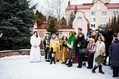 ucrania LVIV - 14 DE ENERO DE 2016: Escena de la natividad de la Navidad Imágenes de archivo libres de regalías