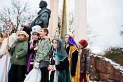 ucrania LVIV - 14 DE ENERO DE 2016: Escena de la natividad de la Navidad Foto de archivo libre de regalías