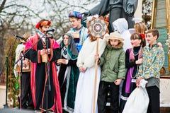 ucrania LVIV - 14 DE ENERO DE 2016: Escena de la natividad de la Navidad Fotos de archivo libres de regalías