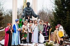 ucrania LVIV - 14 DE ENERO DE 2016: Escena de la natividad de la Navidad Foto de archivo