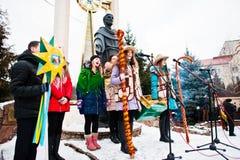 ucrania LVIV - 14 DE ENERO DE 2016: Escena de la natividad de la Navidad Imagen de archivo libre de regalías
