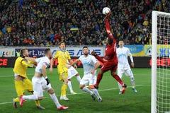 Ucrania y Eslovenia Partido de desempate 2016 del EURO de la UEFA Foto de archivo libre de regalías