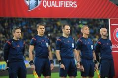 Ucrania y Eslovenia Partido de desempate 2016 del EURO de la UEFA Imágenes de archivo libres de regalías