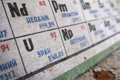 ucrania Zona de exclusión de Chernóbil - 2016 03 20 Tabla periódica en escuela abandonada Fotos de archivo libres de regalías
