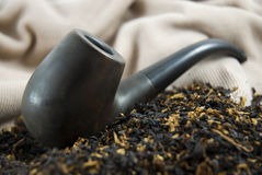 Ucranian Wooden Pipe with Tobacco Royalty Free Stock Photos